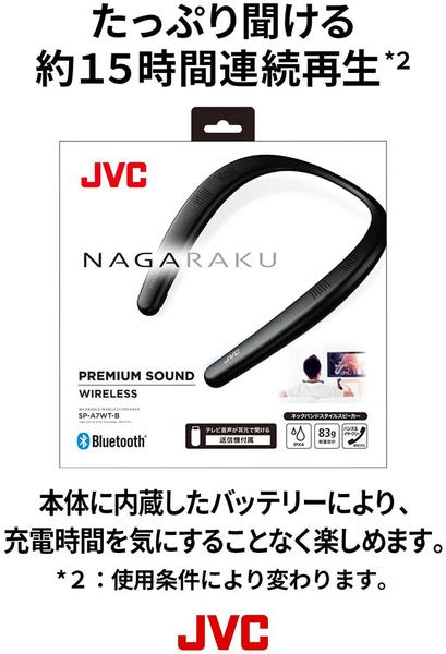 JVC【日本代購】NAGARAKU穿戴式頸圈音箱 揚聲器SP-A7WT