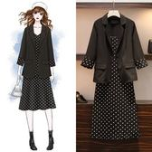 時尚休閒兩件套XL-5XL2019秋裝新大碼顯瘦七分袖小西裝波點中長款連衣裙套裝R04-9723