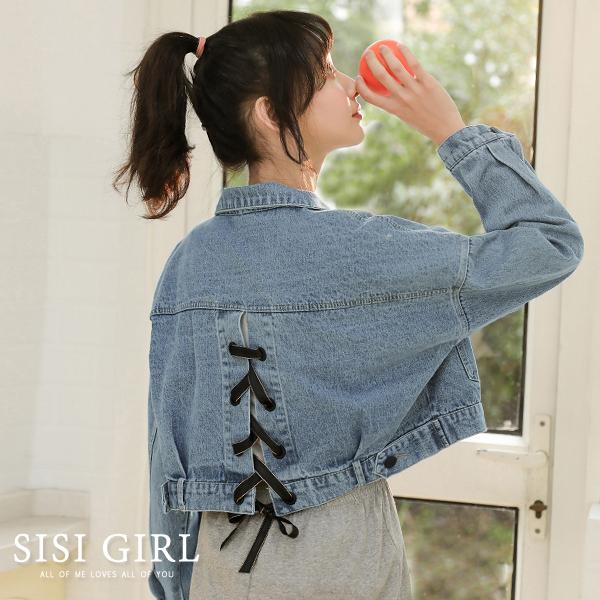 SISI【C9029】春秋韓版甜美可愛俏皮少女落肩長袖泡泡袖金絲綁帶蝴蝶結短版牛仔丹寧外套夾克