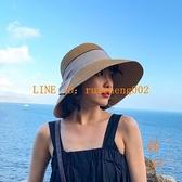 蝴蝶結漁夫帽草帽女夏季可折疊遮臉遮陽帽太陽帽盆帽【橘社小鎮】