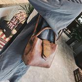 斜背包 包包女韓版復古水桶包單肩斜挎包手提女包 迪澳安娜
