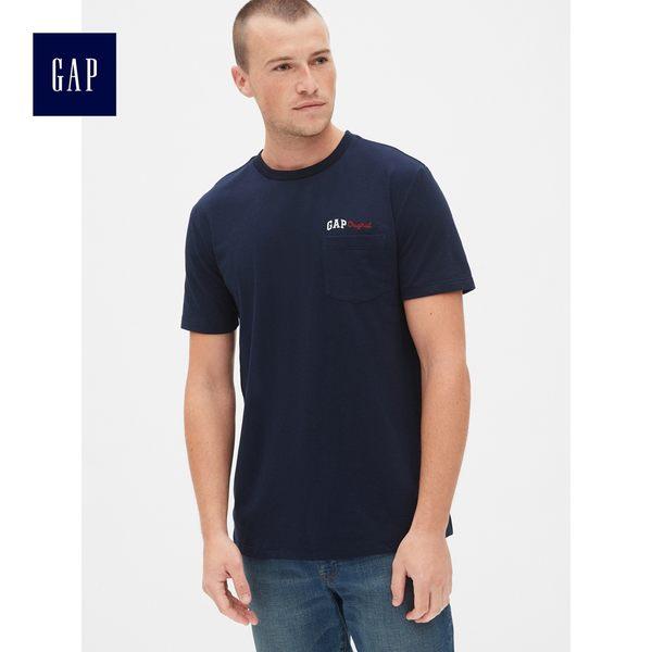 Gap男裝 Logo印花圓領短袖口袋T恤 466833-海軍藍