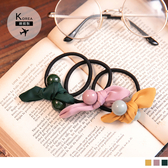 《ZB0592》韓國製~蝴蝶交叉結珠珠髮圈 OrangeBear
