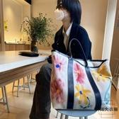 涂鴉購物袋時尚帆布花朵手提托特包單肩包【時尚大衣櫥】
