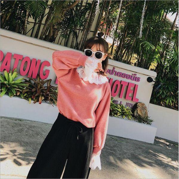 2018 春季 韓版 女裝 蕾絲 拼接 針織衫 打底衫 假兩件 毛衣