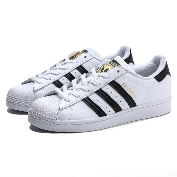 ADIDAS 休閒鞋 ORIGINALS SUPERSTAR 白 黑 皮革 金標 復古 板鞋 男女(布魯克林) EG4958