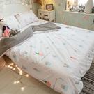 夏日粉仙人掌 Q2雙人加大床包雙人薄被套4件組 四季磨毛布 北歐風 台灣製造 棉床本舖
