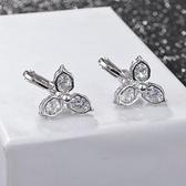 耳環 925純銀 鑲鑽-百搭夾式情人節生日禮物女飾品2色73hz94【時尚巴黎】