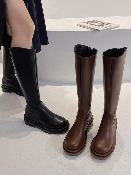 長靴 粗跟長筒靴女2021秋新款側拉鏈復古騎士靴不過膝高筒小個子長靴潮 霓裳細軟