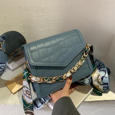 高級感鱷魚紋包包女2021新款韓版時尚休閒百搭側背斜背手提小方包 伊蘿