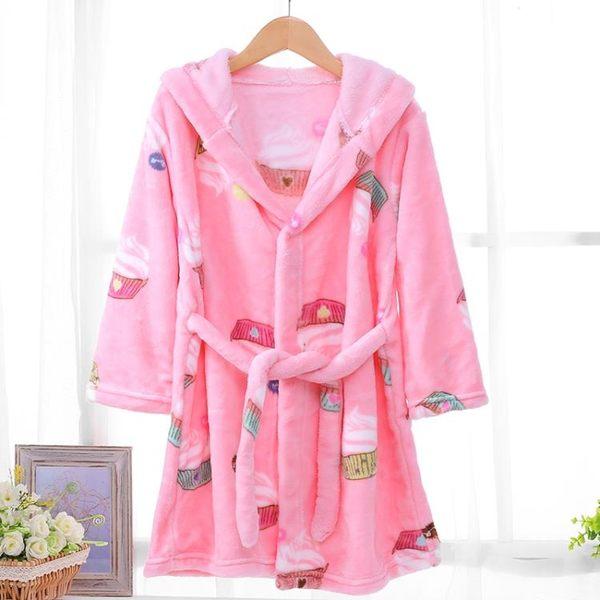 雙11購划算-法蘭絨兒童睡袍珊瑚加厚睡衣男童女童小孩寶寶浴袍