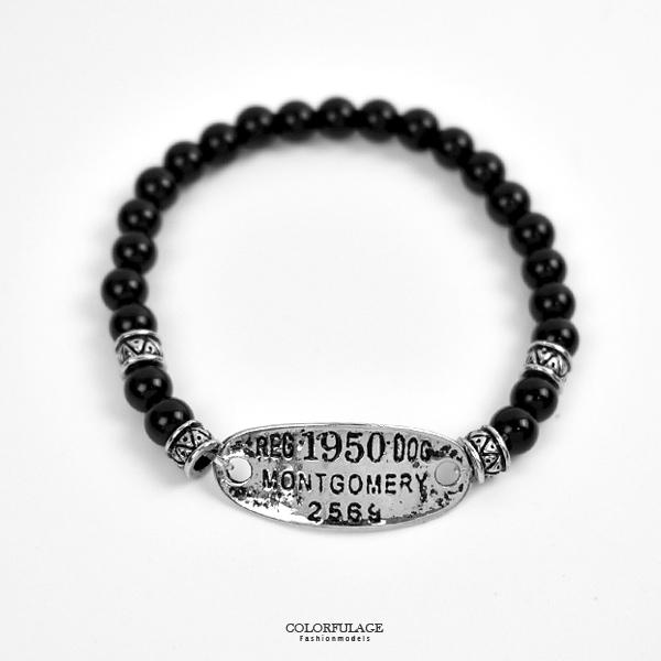 串珠手鍊 個型鐵牌黑瑪瑙手環NAE31