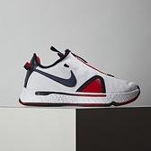 Nike PG 4 EP 男鞋 白藍 拉鍊 耐磨 氣墊 透氣 緩震 籃球鞋 CD5082-101
