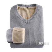 男士毛衣 棉質加絨加厚男士毛衣v領新品正韓純色體恤修身厚款保暖男裝衣服 一件82折