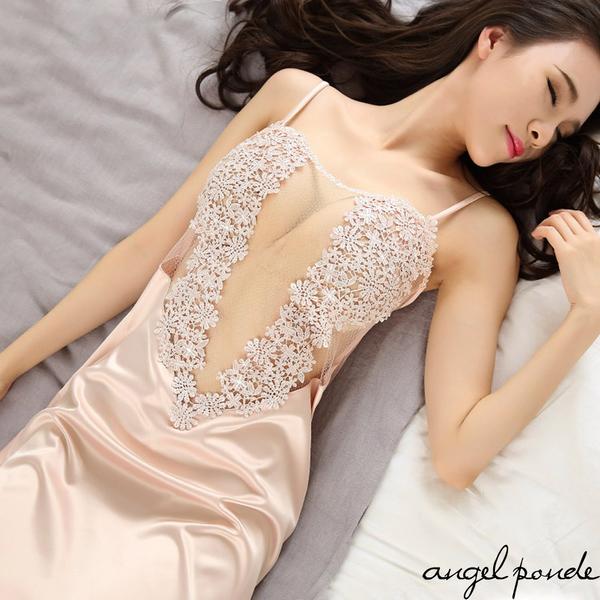 天使波堤【LD0149】愛心透視水溶蕾絲綢緞拼接情趣睡裙(共三色)-氣質唯美浪漫女神情人節交換禮物