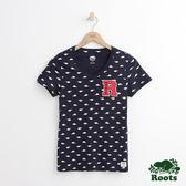 Roots - 女裝 - 滿版海狸V領短袖T恤 - 藍色