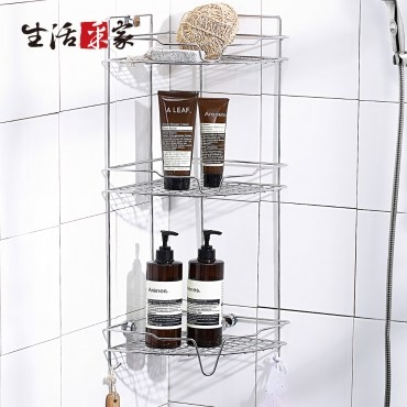 【生活采家】台灣製304不鏽鋼浴室掛放二用角落收納棚(#27012)