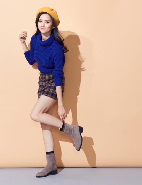 ★2019秋冬★Keeley Ann我的日常生活 柔軟布撞色兩階式短靴(卡其色) -Ann系列