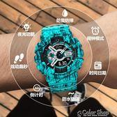 潮流ulzzang森女手錶男女學生韓版簡約休閒大氣兒童鬧鐘電子錶潮color shop