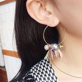 耳環 立體 花朵 流蘇 水晶 多元素 圓狀 耳環【DD1707101】 ENTER  05/24