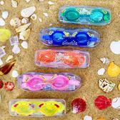 週年慶優惠-泳鏡 游泳館盒裝小螃蟹小孩兒童泳鏡防水防霧高清平光泳鏡時尚可愛