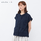 a la sha+a 弧度設計小方格提織襯衫