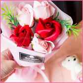 BestWishes盒裝附熊5朵香皂玫瑰花禮盒-多彩紅(贈提袋) 情人節禮物 生日禮物 畢業禮物