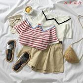 裝女韓版小清新針織釘珠條紋POLO衫