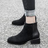 短靴 粗跟百搭馬丁靴女 顯瘦 ☸mousika
