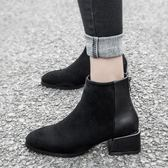 YAHOO618☸ 短靴 粗跟百搭馬丁靴女 顯瘦mousika
