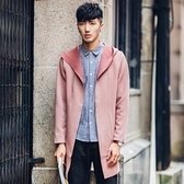 風衣外套-純色簡約時尚皮革中長版連帽男大衣3色73ip61[時尚巴黎]