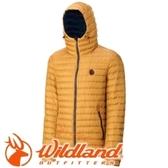 【Wildland 荒野 男款700FP連帽輕時尚 羽絨衣 駱黃】0A32112/羽絨衣/連帽羽絨衣