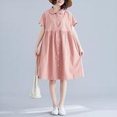 文藝小清新夏裝新款寬鬆顯瘦棉麻襯衫裙休閒中長款減齡連身裙女 童趣