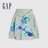 Gap男幼童 碳素軟磨系列法式圈織 Logo印花連帽休閒上衣 704956-灰色