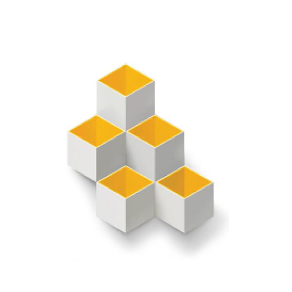 TOYOYO  trick box幾何造型文具收納架 - 淺灰/黃
