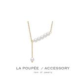 (現貨)項鍊 S925純銀鍍金優雅氣質珍珠吊墜鎖骨鍊-La Poupee樂芙比質感包飾