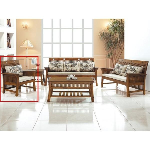 沙發組 CV-304-12 梅花柚木單人椅 (不含大小茶几) (不含坐墊) (可拆賣)【大眾家居舘】
