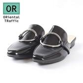【ORiental TRaffic】時尚潮流金屬圓釦穆勒鞋-時尚黑