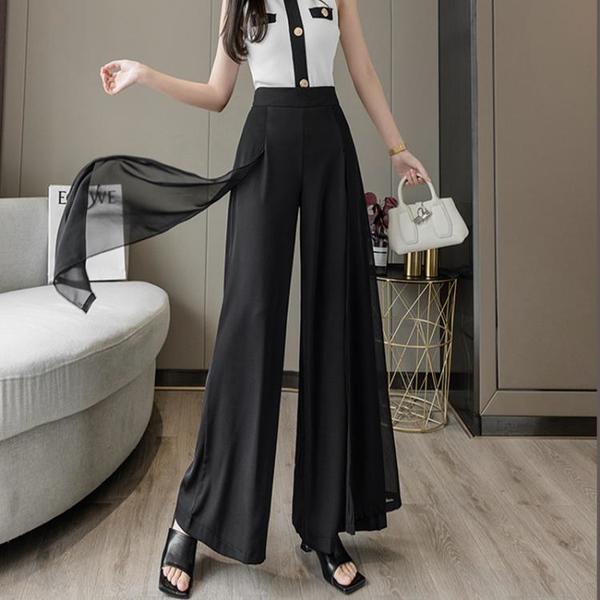 寬管褲 2021新款夏季薄款垂感雪紡闊腿褲女高腰垂感寬腿甩褲直筒寬鬆裙褲