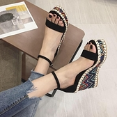 楔形涼鞋 坡跟涼鞋女2021韓版夏天新款鬆糕鞋百搭高跟厚底防水臺羅馬鞋子潮