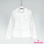 【SHOWCASE】氣質荷葉壓褶長袖白襯衫