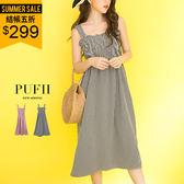 PUFII-洋裝 寬肩鬆緊平口棋盤格紋連身傘裙長洋裝 2色 0531 現+預 夏【ZP14738】