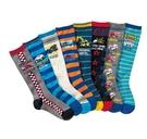 [韓風童品]男寶寶高筒襪 兒童棉質襪 工程車挖土機水泥車圖案 運動襪 男童高筒襪