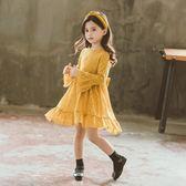 萬聖節狂歡   女童連身裙秋裝新款長袖韓版洋氣裙子黃色喇叭袖兒童公主裙潮【居享優品】