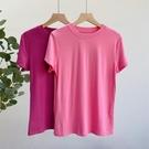莫代爾T恤女短袖小圓領打底衫純色修身半袖體恤-Ballet朵朵