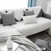 歐式沙發墊四季通用防滑黑白斜紋簡約現代全棉布藝組合客廳坐墊QM『艾麗花園』