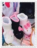 小花花日本精品Hello Kitty 雪靴 絨毛雪靴 冬天必備 蝴蝶結 黑色 內裡桃紅香港限定 78964303