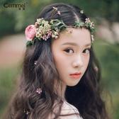 髮飾 新款新娘花環頭飾韓式仙氣森捲花童抖音爆款拍照海邊度假髮飾 城市科技