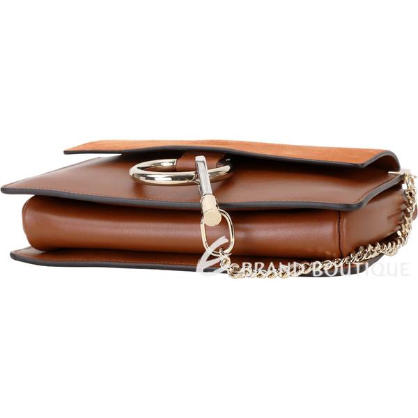 CHLOE Faye 小款 麂皮拼接小牛皮肩背/斜背包(煙草色) 1740050-B3