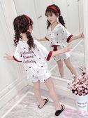 兒童睡衣夏季薄款短袖套裝中大童小孩女生公主女童家居服夏天冰絲